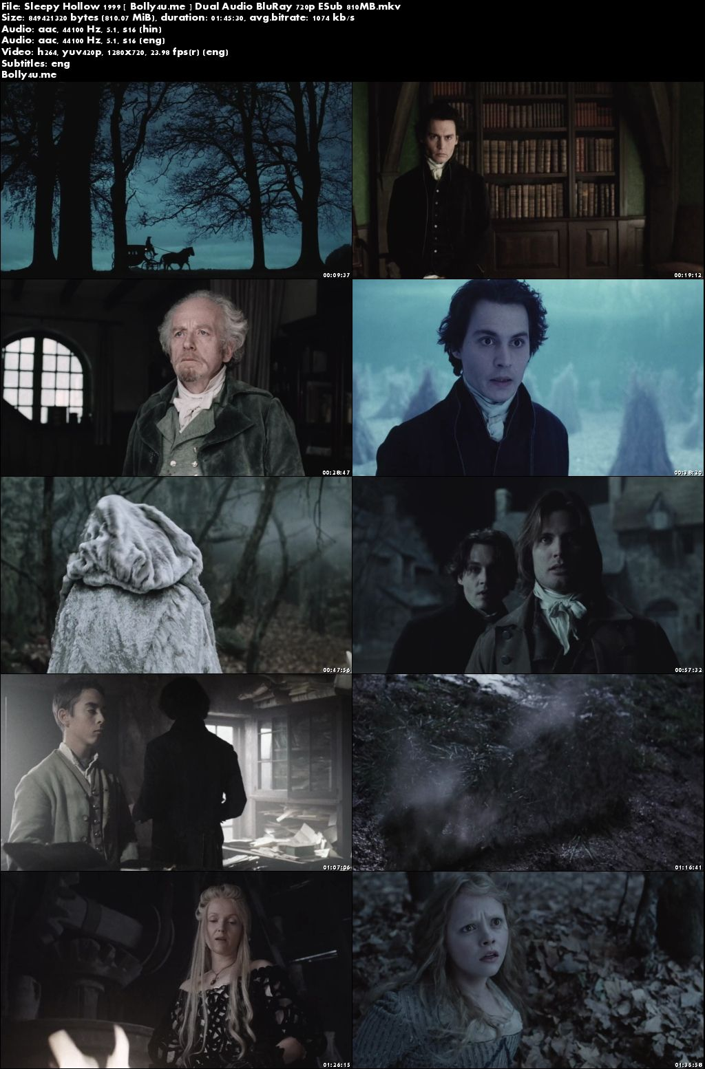 Sleepy Hollow 1999 BluRay 800MB Hindi Dual Audio 720p ESub Download