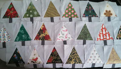 ProsperityStuff Christmas Tree Quilt blocks made with Tri-Recs ruler tool