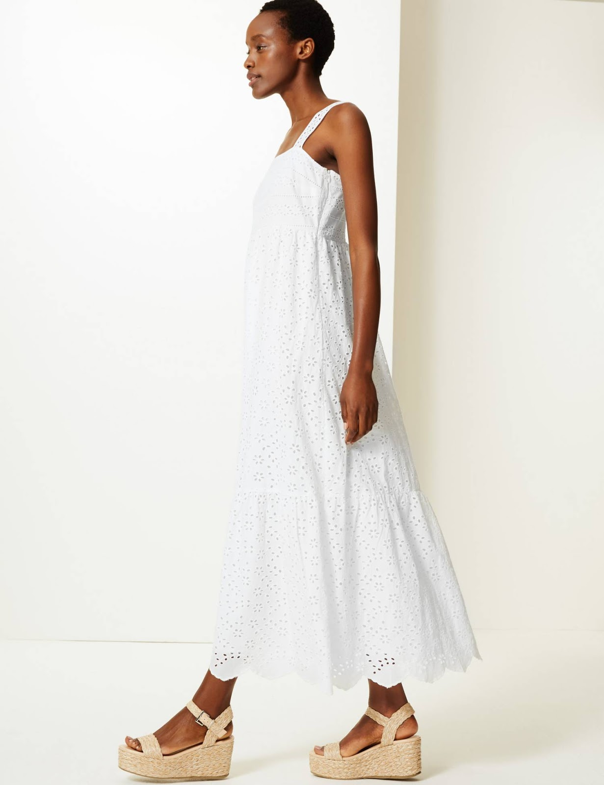 marks and Spencer pure cotton embroidered waisted maxi dress