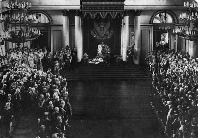 Tsar Nicholas II giving an opening speech of the First Duma