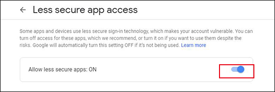 turn on less secure apps option