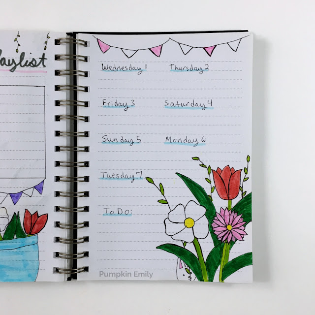 April Bullet Journal Weekly Spread