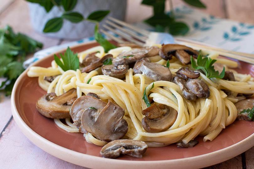 recette Pâtes aux champignons