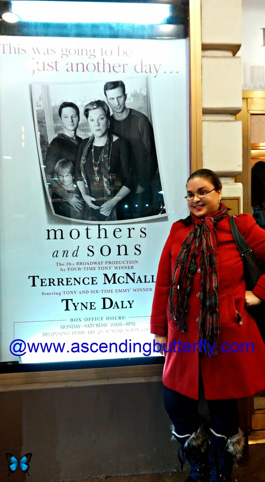 Tracy from Ascending Butterfly at Golden Theater New York City Mothers and Sons Signage