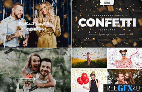56 Confetti Collection Brilliant Confetti Photo Overlays