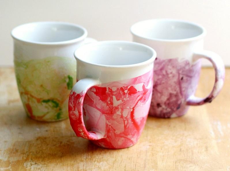 nail polish marbled cups