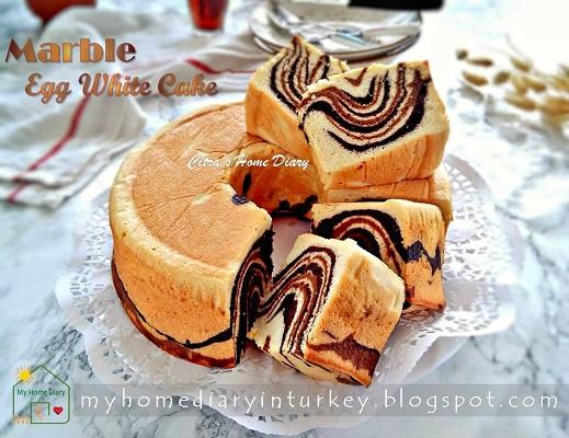 Egg White Marble Cake / Cake marmer putih telur | Çitra's Home Diary. #eggwhitecakerecipe #leftovereggwhiterecipe #cakeputihtelur #marblecake #cakemarmer #mermerkek #kektarifi #resepputihtelur #indonesisch #coffeecake