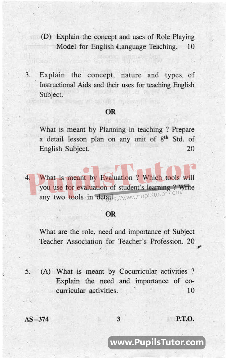 Teaching Of English Question Paper