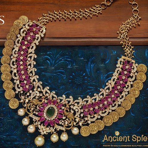 Ruby Diamond Kasu Necklace