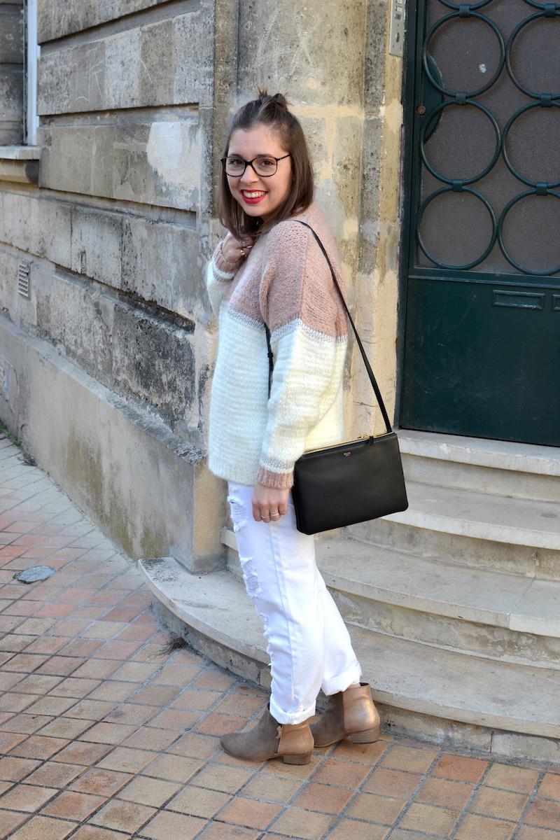 pull an'ge collection, jean blanc Kiabi, bottines bakajoo, trio bag Céline, collier médaille l'atelier d'amaya