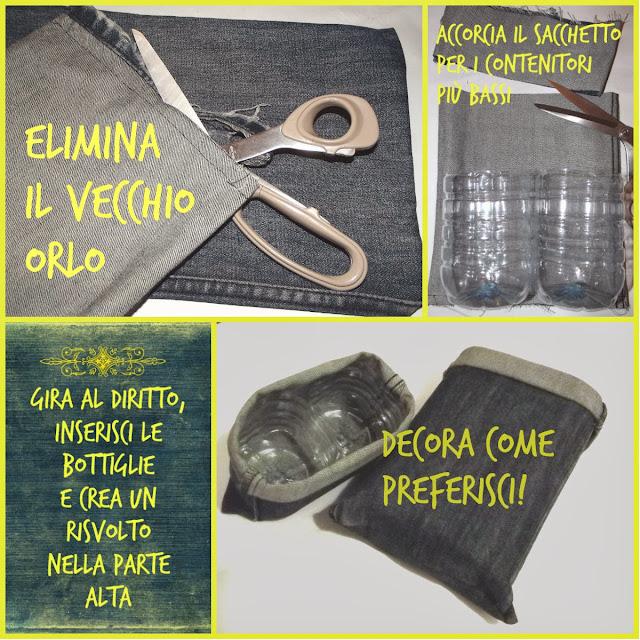 Riciclare bottiglie di plastica e vecchi jeans