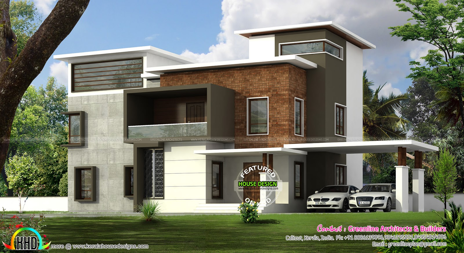 3098 sq ft box type home plan kerala home design and for Modern box type house design