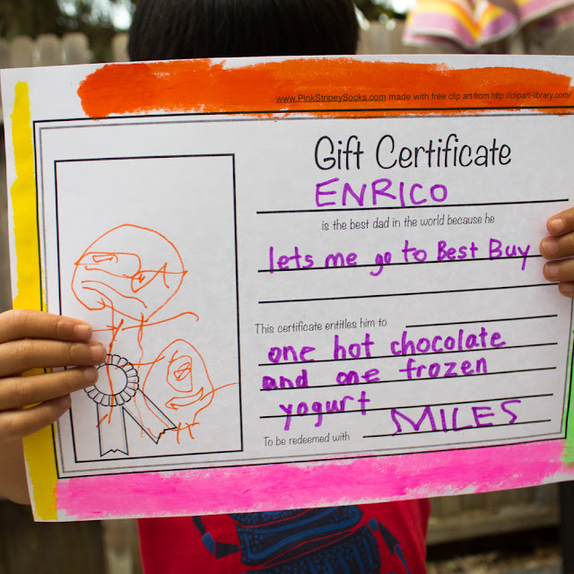 Father's Day Gift Certificate Free Printable for kids to make for dads!