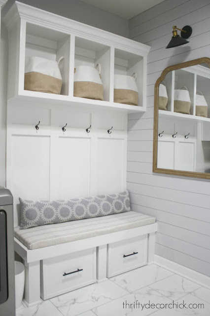 Mud room bench and cubby with shoe storage