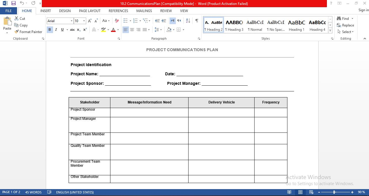Project management communications plan template in word free download