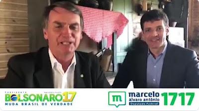 Bolsonaro em campanha com Marcelo Alvaro Antonio