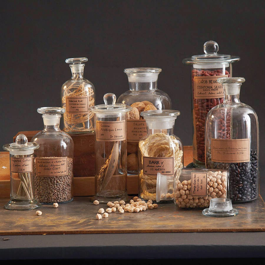 The clear glass type is the most common type of apothecary jar and is  considered as the most versatile.