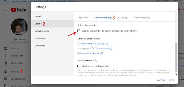 Menyembunyikan atau Menampilkan Jumlah Subscriber YouTube