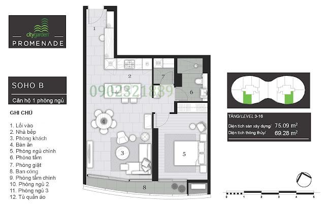 Tháp Pormenade căn hộ City Garden - 1 Phòng ngủ B