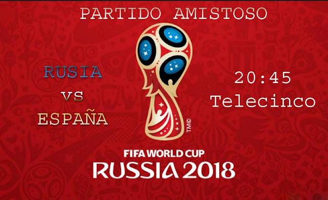 partido rusia espana en Telecinco