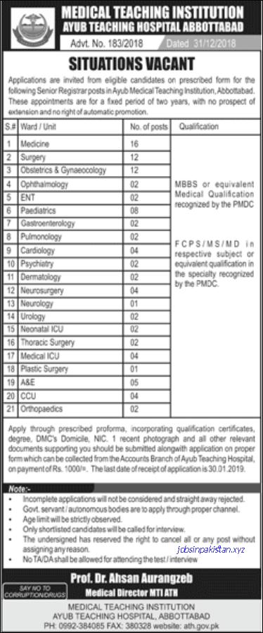 Advertisement for Ayub Teaching Hospital Jobs