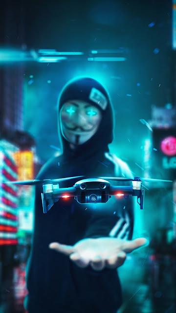 Anonimo Mascarado Com Drone