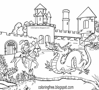 Printable dragon coloring for kids art fantasy pictures Camelot knight castle medieval drawing ideas