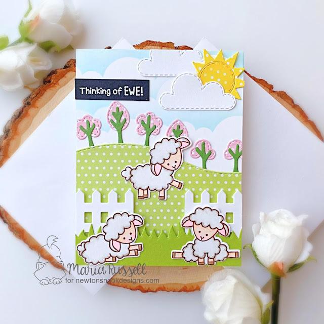 Thinking of Ewe card by Maria Russell | Baa Stamp Set, Land Borders Die Set, Fence Die Set and Sky Scene Builder Die Set by Newton's Nook Designs #newtonsnook #handmade