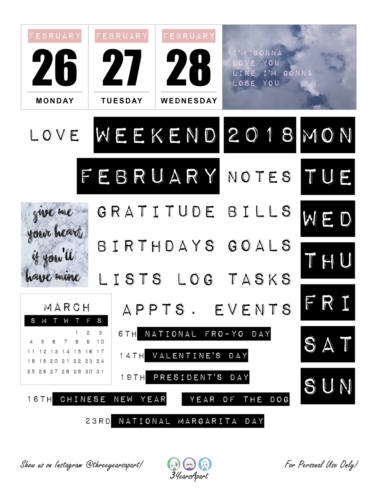 February 2018 | Free Bullet Journal and Planner Printable Stickers