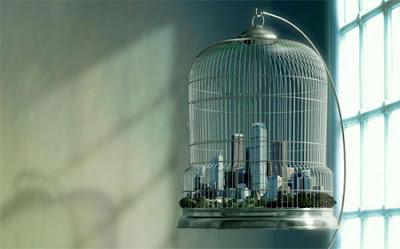 Manipulación o fotomontaje  fotográfico  ciudad en jaula