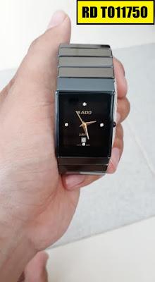 Đồng hồ nam mặt chữ nhật dây đá ceramic đen RD T011750