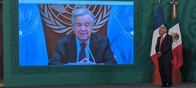 Discurso del Secretario General de las Naciones Unidas, António Guterres, durante la ceremonia de inauguración del Foro Generación Igualdad. El presidente de Mexico, Andrés López Obrador (dcha.), escucha sus palabras.ONU México/Luis Arroyo