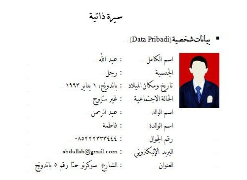 Contoh Riwayat Hidup dalam Bahasa Arab