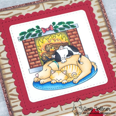 Inky Paws Challenge Cozy Winter Theme - Fireside Friends stamp set, Hardwood stencil, Frames Squared die set by Newton's Nook Designs #newtonsnook #handmade