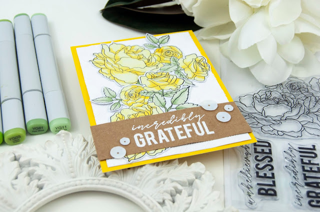 Grateful Copic Colored Rose Card by Jen Gallacher for www.jengallacher.com #kaisercraft #copicmarkers #card #stamping