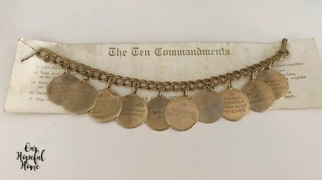 vintage The Ten Commandments charm bracelet