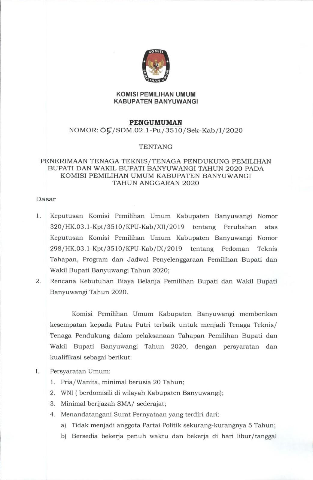 Lowongan Kerja Terbaru Komisi Pemilihan Umum Bulan Januari 2020