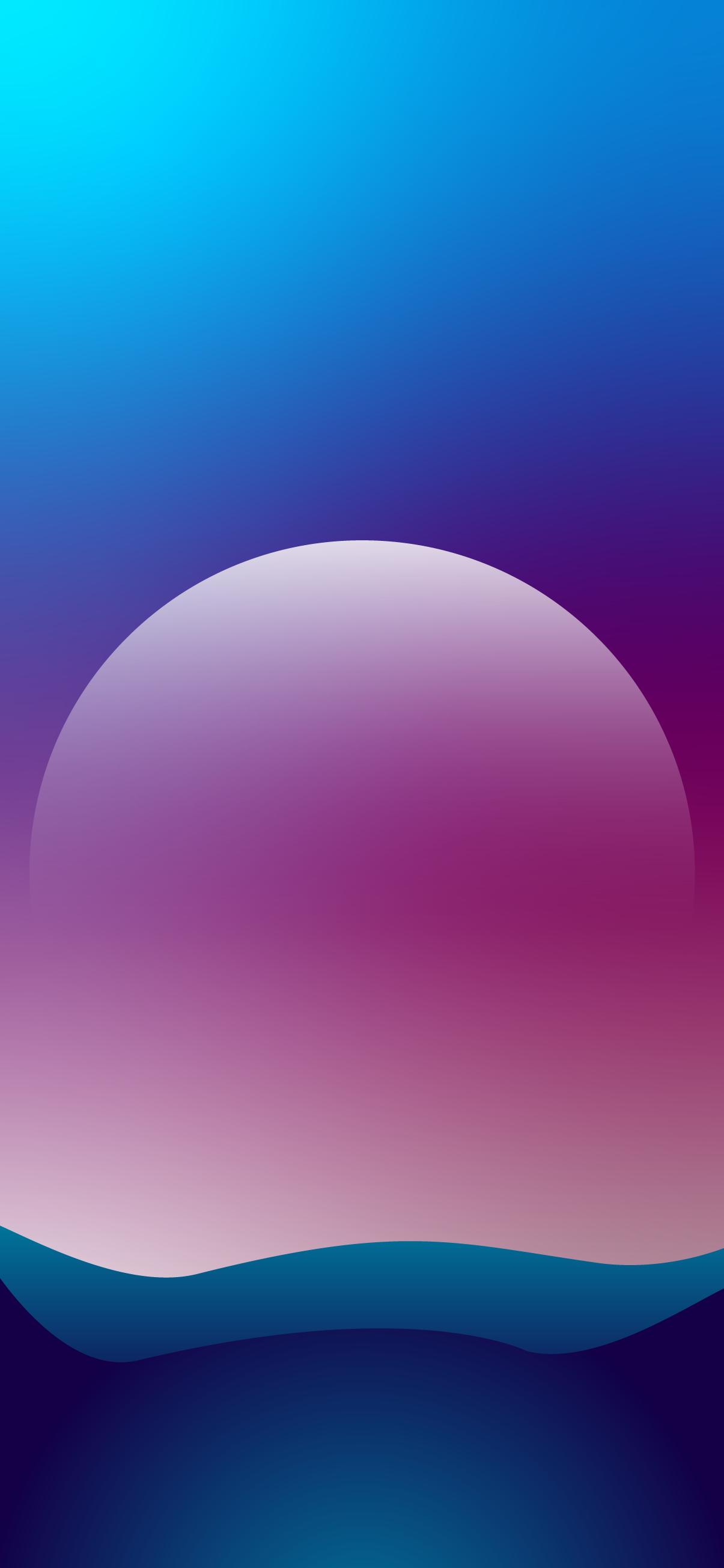 minimalist moon landscape gradient clean soft flat