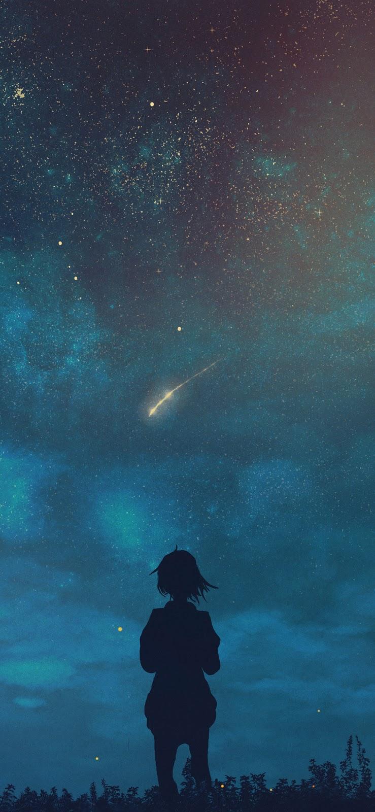 Cô gái xem sao rơi giữa bầu trời đêm