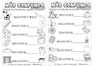 atividades de alfabetização, Troca letra, Atividades de Língua portuguesa, Atividades para 1º ano, Atividades para 2º ano,