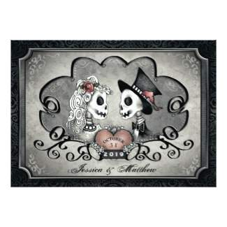Skeleton Love Gray & Black Square Wedding Invitation - Together With