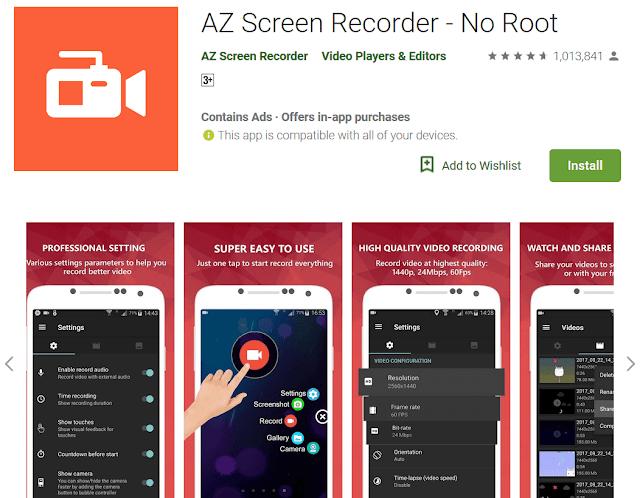 Aplikasi Screen Recorder Android Tanpa Watermark, Tanpa ROOT Terbaru 2019 tomsheru.com
