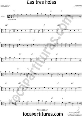 Viola Partitura de Las Tres Hojas Sheet Music for Viola Music Score