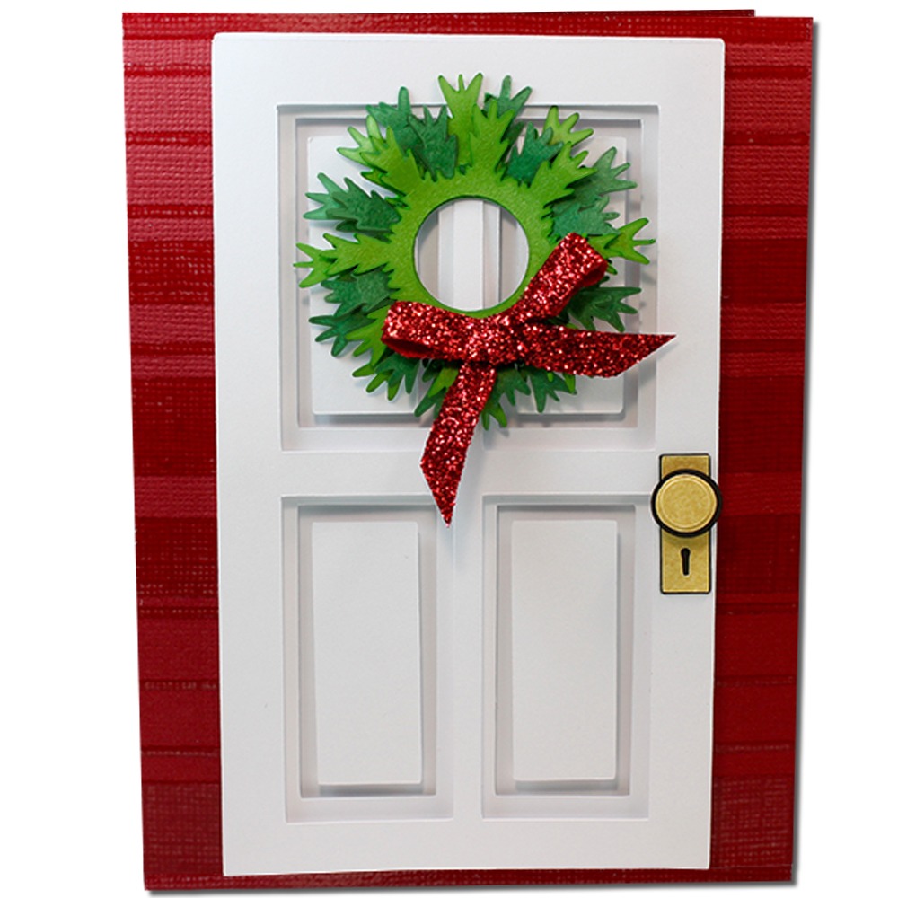 Jmrush Designs Coffered Christmas Wreath Door Card
