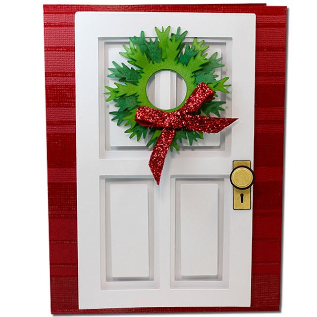 JMRush Designs: Coffered Christmas Wreath Door Card