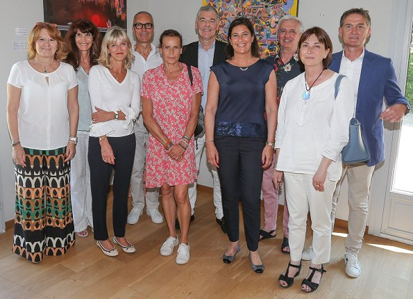 Princess Stéphanie of Monaco visited the House of Life (Maison de Vie) which celebrates 8th anniversary of its establishment. print summer dress