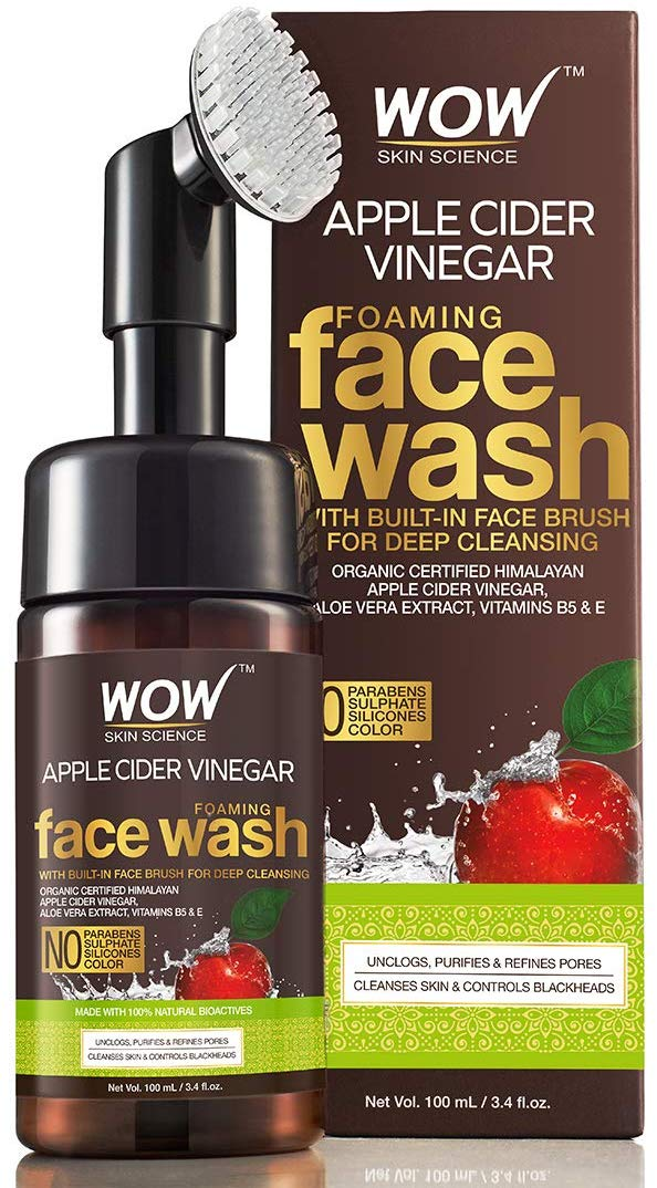Care & Styling Fragrance Men's Grooming Beauty › Skin Care › Face › Cleansers & Face Wash › Face Wash › WOW Organic Apple Cider Vinegar Foaming Face Wash with Built-In Brush - No Parabens Share      100% PP Subscribe & Save: 5% Discount Applied  10% ₹ 303.05 One-time purchase: ₹ 319.00 Quantity:  Add to Cart Add to Cart  Submit Buy Now Submit Add to Wish List New (5) from ₹ 319.00 & FREE Shipping on orders over ₹ 499.00 Other Sellers on Amazon Add to Cart ₹ 343.00  FREE Delivery on orders over ₹ 499.00. Details Sold by: Cloudtail India Add to Cart ₹ 375.00  FREE Delivery on orders over ₹ 499.00. Details Sold by: BODY CUPID COSMETICS PVT LTD Add to Cart ₹ 330.00  + ₹ 145.00 Delivery charge Sold by: NEELAM FOOD INDUSTRIES   Ad feedback  Have one to sell? Sell on Amazon  Submit   Submit   Submit   Submit   Submit   Submit   WOW Organic Apple Cider Vinegar Foaming Face Wash with Built-In Brush - No Parabens, Sulphate and Silicones, 100 ml WOW Organic Apple Cider Vinegar Foaming Face Wash with Built-In Brush - No Parabens, Sulphate and Silicones, 100 ml by WOW