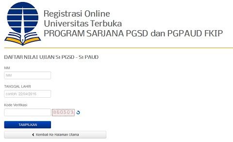 Cek Nilai Mata Kuliah UT Hasil Ujian Program Pendas PGSD 2016.1 di www.ut.ac.id