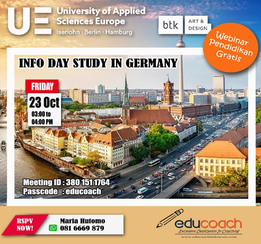 INFO DAY STUDY IN GERMANY | Educoach Indonesia | Konsultasi Pendidikan & Studi Lanjut Di German