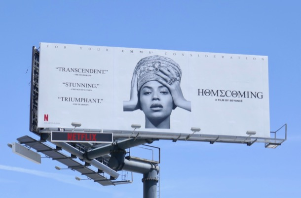Beyoncé Homecoming Emmy consideration billboard
